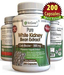 Extrait 100% pur de haricot blanc 1800mg (200 capsules)