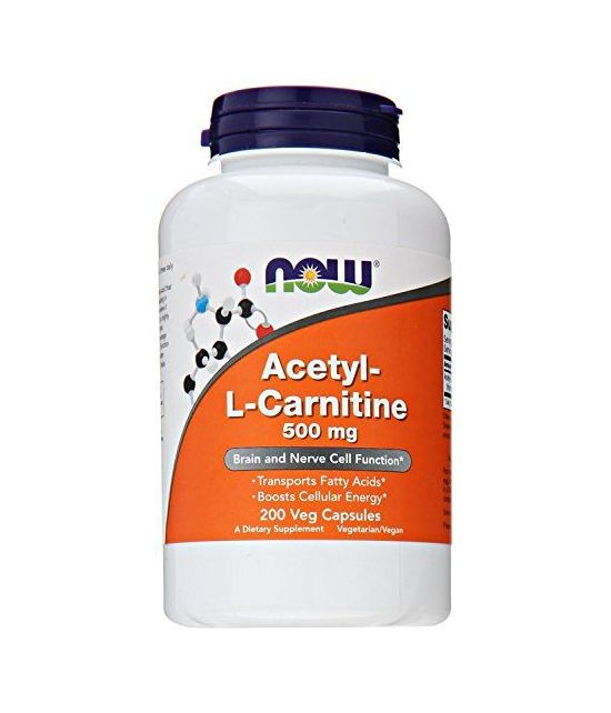 NOW Acetyl L-Carnitine 500mg, 200 Capsules Veg