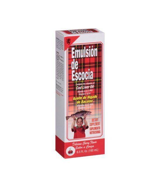 Emulsion de Escocia saveur de cerise Huile de foie de morue Complément alimentaire 65 onces liquides